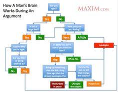 Man's brain during an argument