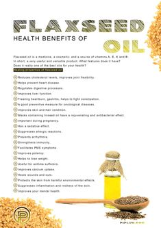 Health Benefits of Flaxseed Oil. [Poster] Flaxseed is the best remedy for many diseases Flax is a un Flaxseed Oil Benefits, Flax Seed Benefits, Holistic Nutrition, Health And Nutrition, Flax Seed Recipes, Flour Recipes, Sources Of Vitamin A, Best Oils, Plant Protein