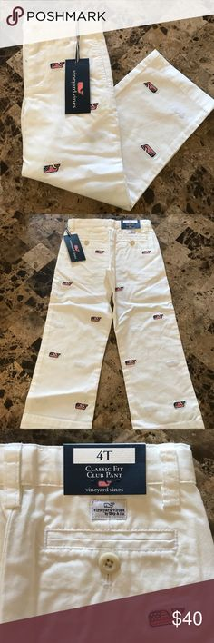 NWT Vineyard Vines Classic Fit Club Pant Whale 4T New with tags! Vineyard vines classic fit club pant. Red white and blue whale logo all over them embroidered. Size 4T. $90 value. Comes from a smoke free and pet free home 🏡 Vineyard Vines Bottoms Casual