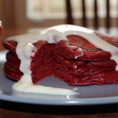 What a delicious start to Valentines Day! These red pancakes drizzled with a frosting-like glaze will make any breakfast special. Red Velvet Pancakes, Breakfast Specials, Cream Cheese Glaze, Breakfast Recipes, Breakfast Ideas, Pancake Recipes, Brunch Recipes, Yummy Recipes, Breakfast