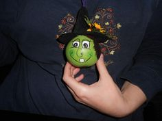Hand painted dried mini gourd witch necklace. on Etsy, $4.00