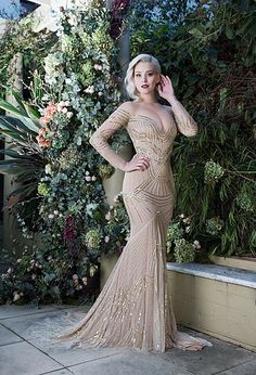 The Zoe Dress - a Sexy Champagne Colored Update on a Classic 1920s Great Gatsby Style Wedding Dress Leah Da Gloria Wedding Dresses 2016 Collection