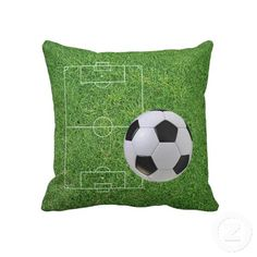 Soccer Sport. Unique, trendy, fashionable and decorative throw pillow. With contemporary image of soccer ball and field outline on green grass. Made for the soccer lover, fan or player. Cute boy's or girl's, soccer playing kid's, mom's or dad's birthday present, Mother's or Father's day, or fun Christmas gift. Or just an original, cool and fun pillow to decorate your children's bedroom, man cave, living or family room, patio or deck, cabin, beach house, cottage, river or lake vacation home…