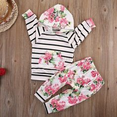 Infant Baby Girls Striped Hooded Tops+Floral Pants Outerwear Set Outfits Clothes #ebay #Home & Garden