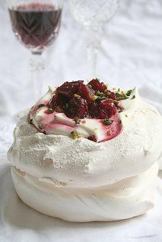 Rhubarb, cherries & white chocolate Pavlova by Le Petrin, via Flickr