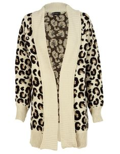 Beige Leopard Print Knitted Cardigan #ChiaraFashion