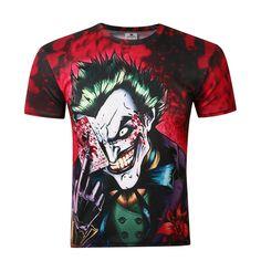 Hot sale Europe and the United States Dark Knight Clown Poker 3D Print Men's Short Sleeve T-Shirt Hip Hop