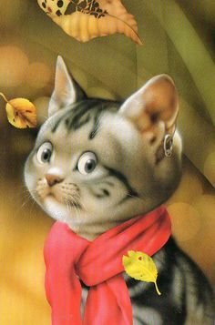 Makoto Muramatsu Cats Postcards Collection one for sarkka I Love Cats, Crazy Cats, Cool Cats, Gatos Cat, Image Chat, Here Kitty Kitty, Cat Drawing, Cat Art, Kitsch