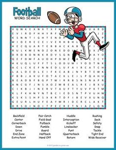Football Word Search - great activity for kids learning about the game.  Super Bowl party activity.