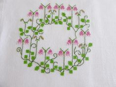 Sweet Small Linen Tablecloths / Tablets Linnea Rose Wreath embroidery on