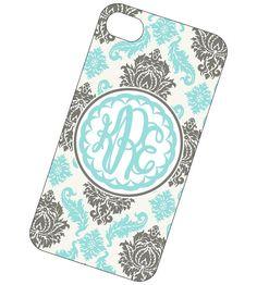 Monogrammed iPhone Case - Personalized Monogrammed Case, Monogram Phone Case for iPhone 4 and 4s- Tiffany Damask via Etsy