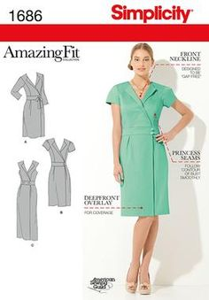 1686 Misses' & Miss Petite Amazing Fit Dress    Misses' and Miss Petite Amazing Fit mock wrap dress in two lengths has back zipper, inset waist band, lapels and sleeve variations. Separate pattern pieces included for A,B,C,D cup sizes and slim, average and curvy fit. American Sewing Guild.  Armhole Princess seamed bodice