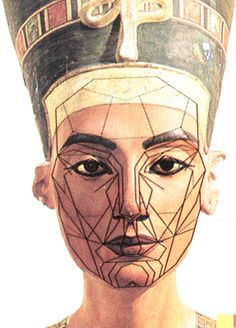 Nefertiti's face with a mask mapping the golden ratio  – repinned by www.earthangel-family.de