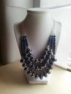 Iris Blue and silver European beaded and pearl by ILoveBeads247, $23.00
