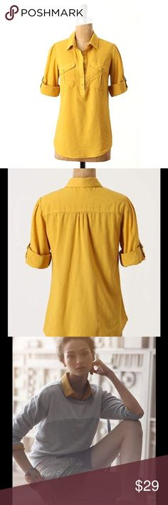 """FEI Anthropologie Simple Compositions Blouse FEI Anthro Simple Compositions Blouse, Size 12, Anthropologie, Mustard yellow color, button-tabbed shirt, Front pockets, Button closure, Cotton, Machine wash, Bust 34-36""""-no stretch, Length 26"""", Pre owned great condition-does have slight fading due to washing. Anthropologie Tops Blouses"""
