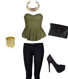 Rocker chic outfit good look for a night out.