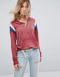 Hollister Sports Stripe Hoody - Red