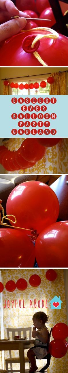 easiest EVER balloon party garland. Make garlands to hang or bunches to decorate… easiest EVER balloon party garland. Make garlands to hang or bunches to decorate with. Diy Party Decorations, Balloon Decorations, Balloon Garland, Diy Garland, Homemade Birthday Decorations, Balloon Tower, Balloon Wall, Birthday Fun, Birthday Parties