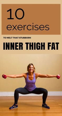 10 Exercises To Melt That Stubborn Inner Thigh Fat - Core Workout Lose Thigh Fat, Lose Belly Fat, Lose Fat, Inner Thight Workout, Inner Leg Workouts, Exercises For Thigh Fat, Lower Ab Workouts, Yoga Exercises, Fat Burning Yoga