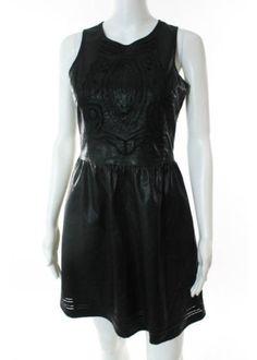 SABINE-Black-Faux-Leather-Sleeveless-Crew-Neck-Cut-Out-Detail-Dress-Sz-S