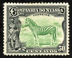 "Nyassa 1921-23 Scott 122 ""Zebra & Warrior"""