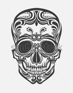 Картинки по запросу череп из цветов эскиз
