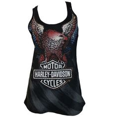 """Cotton TankTop- Dealer Tee """"Studded Eagle"""" On Front """"American Flag"""" Pictured On Front Background """"Bruce rossmeyers Daytona H-D Daytona Beach, FL"""" Scripted On Back Harley Davidson Womens Clothing, Harley Davidson Tank Tops, Motorcycle Style, Motorcycle Fashion, Motor Harley Davidson Cycles, Spring Wear, Biker Chick, Athletic Tank Tops, Freedom"""