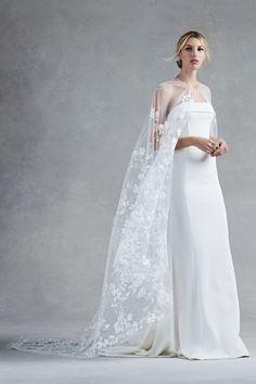 Oscar de la Renta Bridal Fall 2017: Strapless column gown with sheer floral appliqué cape