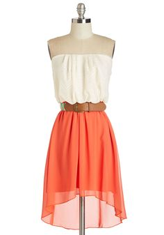 We Found Lovely Dress - Tan / Cream, Solid, Belted, Casual, Festival, High-Low Hem, Strapless, Spring, Woven, Mid-length, Lace, Orange
