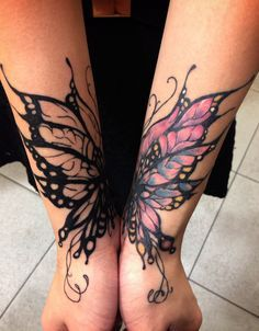 Double arm fairy tattoo - One side has color, while the other is just outlined.