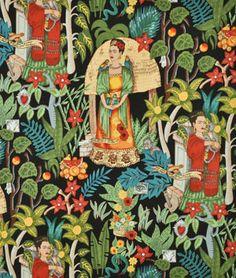 Alexander Henry Fridas Garden Black Fabric - $9.2   onlinefabricstore.net