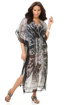 8dd2cacce75e9 Plus Size Caftan Maxi Cover Up