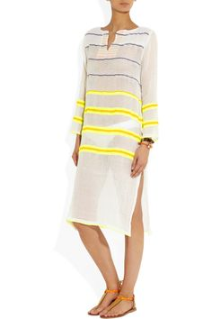 LemLem|Walsh neon striped cotton-blend voile tunic