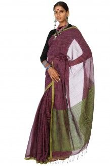 Purple Cotton Saree