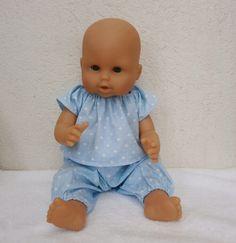 Habits poupon 36 cm - Pyjama bleu imprimé de petits coeurs blancs : Jeux, jouets par mcl-poupees Baby Couture, Lisa Marie, Sewing For Kids, Doll Clothes, Onesies, Anna, Dolls, Fashion, Baby Dolls