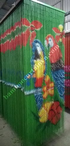 Colorful and vivid parrots bamboo door curtains