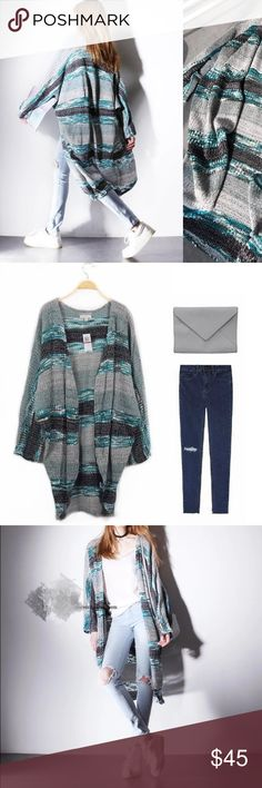 """Oversized patterned cardigan Material: rayon and cotton blended. Length: 43.3"""", sleeve length: 27.6"""", bust: open Sweaters Cardigans"""