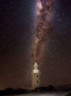 Glowing Milky way above Vlaming Head lighthouse, Ningaloo national park, Western Australia #australia #westernaustralia #travel #galaxy  #stars #milkyway