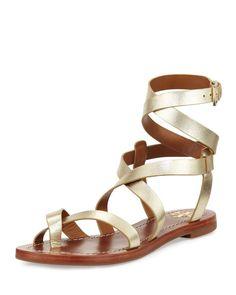62568ba1c56 Tory Burch - Patos Crisscross Flat Gladiator Sandal Gold Flat Sandals