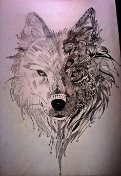 Pin by marinus heyman on wolf Animal Drawings, Art Drawings, Drawing Tattoos, Mandala Wolf, Girl Back Tattoos, Art Prints For Home, Wolf Tattoos, Tatoos, Love Illustration