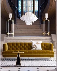 Inspiring Yellow Sofas To Perfect Living Room Color Schemes 114 - DecOMG Contemporary Interior Design, Velvet Furniture, Perfect Living Room Color, Luxury Home Decor, Contemporary Interior, Living Room Designs, Interior Design, Home Decor, House Interior