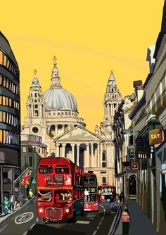 Buy St Paul's Cathedral Canvas (Yellow), London, Digital Art (Other) by Tomartacus on Artfinder. Discover thousands of other original paintings, prints, sculptures and photography from independent artists. London View, London Art, Saint Paul London, London Illustration, Indian Illustration, Travel Illustration, Digital Prints, Digital Art, London