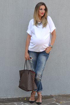 pregnant style, babybump, jeans, 32 weeks