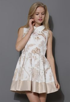 Champagne Floral Sleeveless Dress