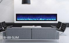 "Amantii 88″ wide x 6 3/4"" deep Built-in Electric Fireplace (BI-88-SLIM) - Modern Blaze"