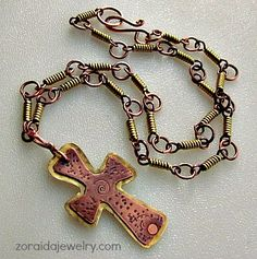 Rustic Brass and Copper Cross Pendant Necklace | zoraida - Jewelry on ArtFire