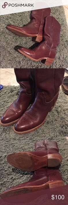 Frye Women's Mahogany Leather Cowboy Boots Frye's leather cowboy or western boots. Beautiful condition, like new, with only minor sole wear (shown in picture). Brown or mahogany leather color. Size is 6.5 B and the style is 6250. Frye Shoes Heeled Boots