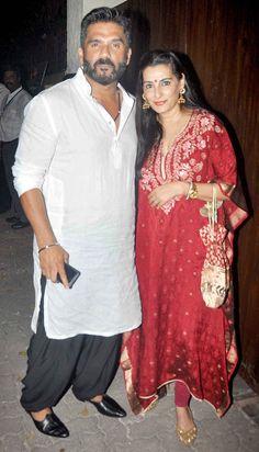 Sunil Shetty and wife Mana Shetty : Photos: Star-studded bash at Rajesh Khanna's bungalow Bollywood Couples, Bollywood Wedding, Bollywood Fashion, Mens Indian Wear, Indian Men Fashion, Boho Fashion, Indian Celebrities, Bollywood Celebrities, Indian Dresses