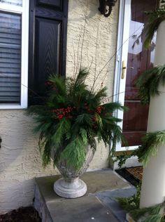 Outside planter idea for Christmas