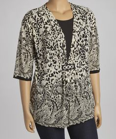 Love this Ivory Leopard Layered Open Cardigan - Plus on #zulily! #zulilyfinds